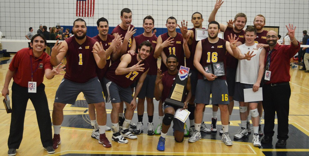 Park claimed its fourth men's volleyball championship in school history with a three-set win on April 12 over Concordia Unive