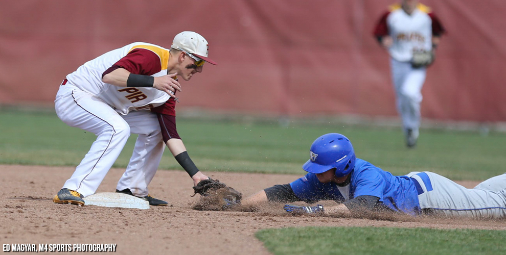 Austin Giannola tags out a Williams Baptist baserunner during Park's doubleheader sweep of the Eagles March 17.