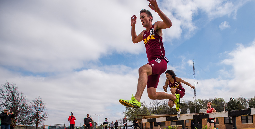 Ryan Zitter runs in the steeplechase for Park's final Thursday event at the KU Relays.