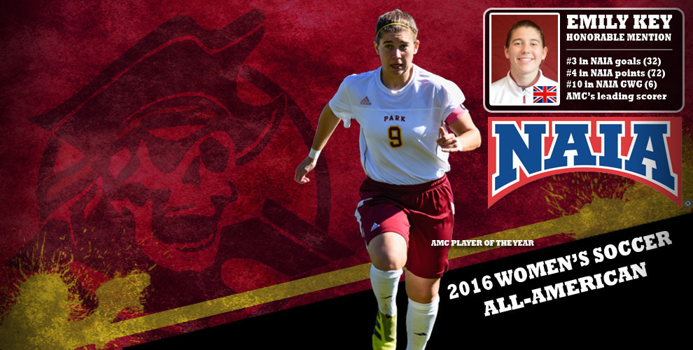 Emily Key named honorable mention to the 2016 NAIA Women's Soccer All-American Team.