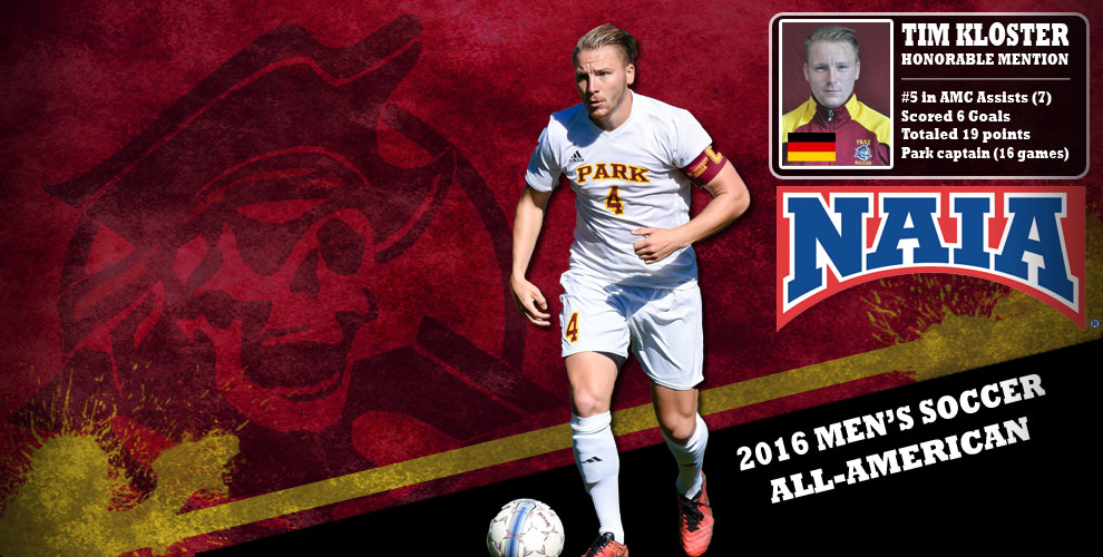 Tim Kloster named to the honorable mention for the 2016 NAIA Men's Soccer All-American Team.