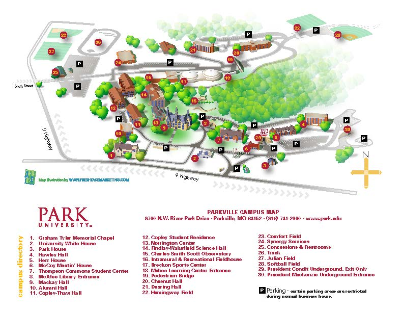 drury university campus map Visitor Guide Park University Athletics drury university campus map