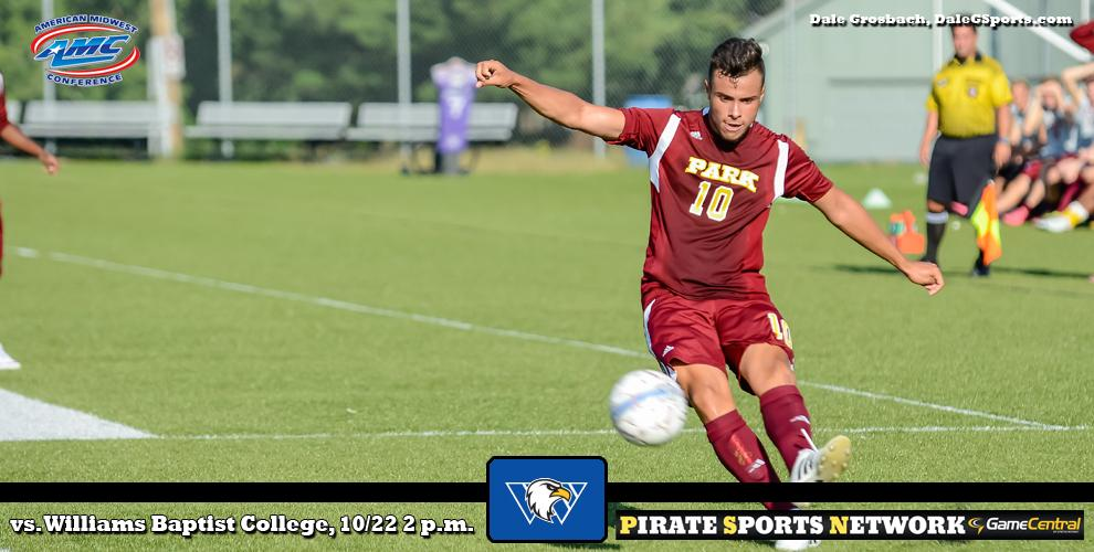The Pirates men's soccer team hosts the Eagles from Williams Baptist College in AMC play at Julian Field.