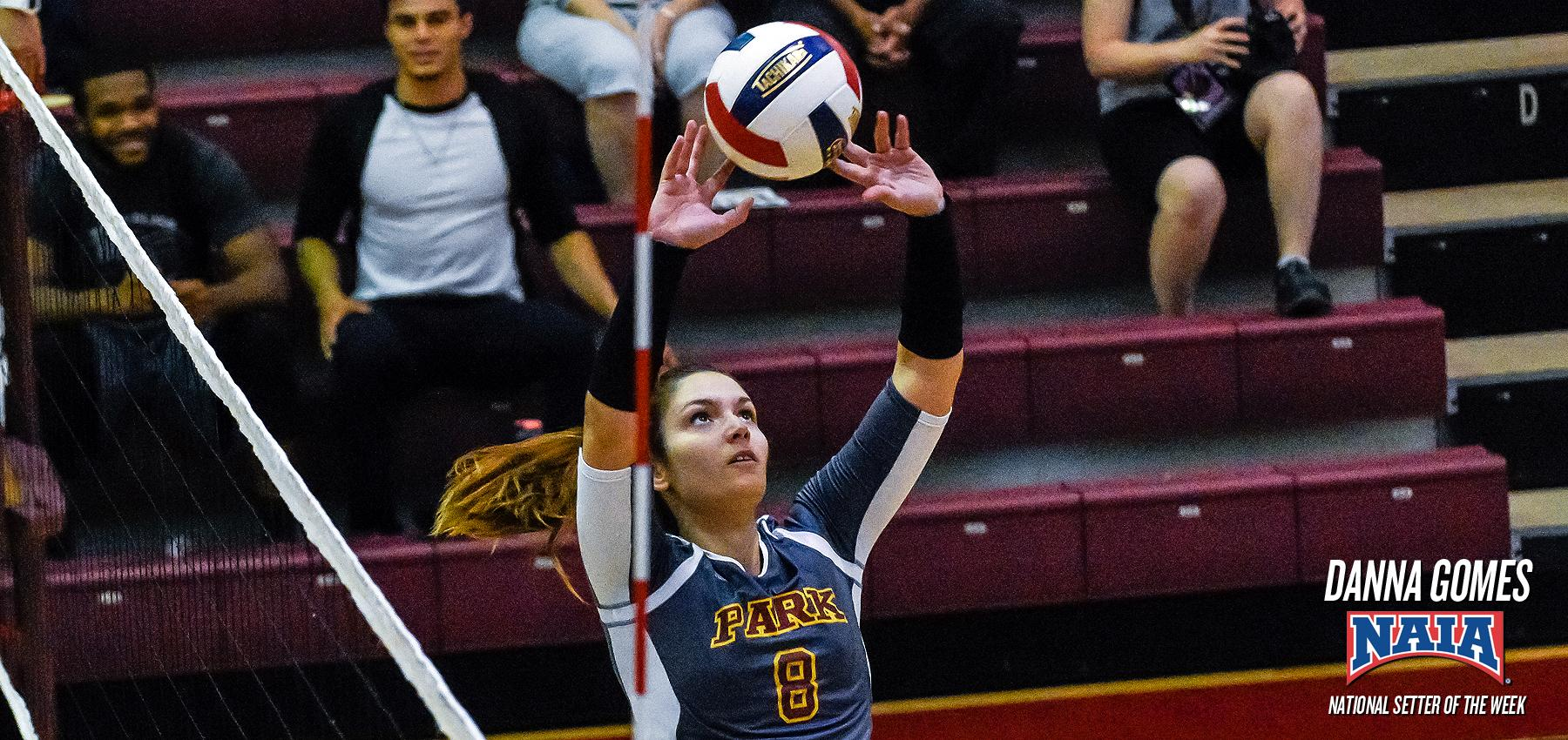 Danna Gomes is the NAIA Setter of the Week after 13 assists per set in a 4-0 week for No. 4 Park.