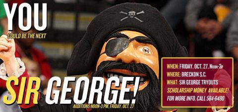 Sir George mascot tryouts are October 27, Noon-3 p.m., at The Breck!